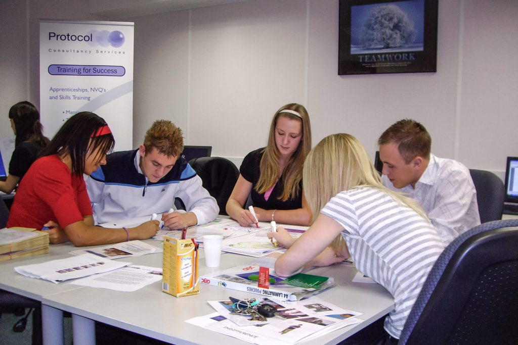 group of learners completing apprenticeships in Birmingham